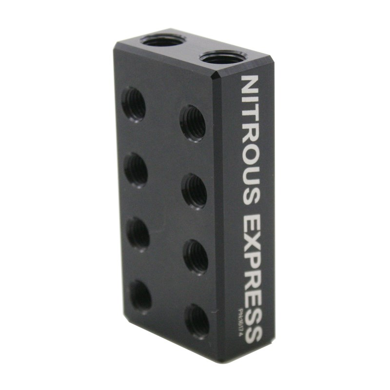 Nitrous Outlet Compact 1 In 4 Out Distribution Block with compression fittings. 1//8 NPT inlets and 5//16-24 Exits ports